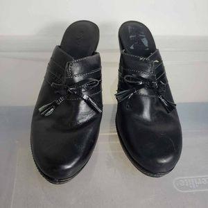 ECCO Womens Mule Black Platform Heels Tassel 10